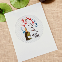 A Cross Stitch 'Well Done' Champagne Bottle