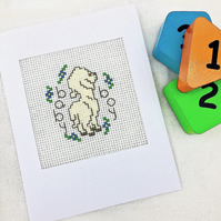 Baby Birth..Christening Cross Stitch Lamb Card For Girl and Boy