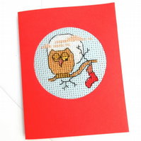 Owl and Sheep Cross Stitch Christmas Cards