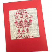 A Little Mitten Noël Cross Stitch Christmas Card