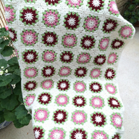 Pretty Flower Merino and Acrylic Burgandy, Pink and Cream Crochet Cot Blanket