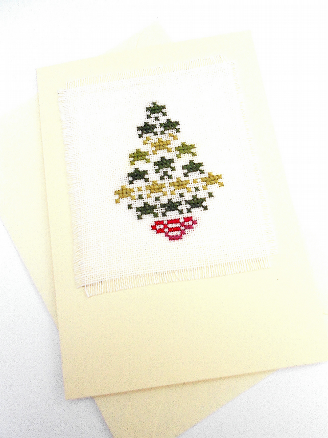 Star Christmas Tree Noël Cross Stitch Card