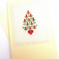 Candle Tree and Star Tree Noël Cross Stitch Christmas Card