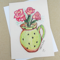 A Pretty 1930's Jug Pastel Card. Mothers Day. Birthday. For Her.