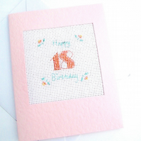 18th and 21st Birthday Cross Stitch Buds Card