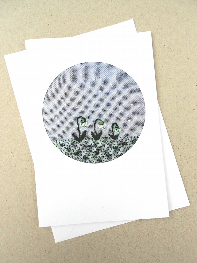 An Embroidered January Snowdrops.It's Never Too Late To Snow Card