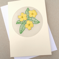 Embroidered Primrose Card for February Birthday. Mothers Day. Easter!