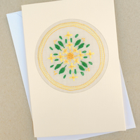 Embroidered Golden Bells Card for Birthday. Easter. Thank You!