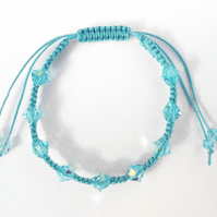 For March Birthday Macramé Aquamarine Bracelet