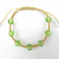 For May Birthday Pale Emerald Micro Macramé Bracelet