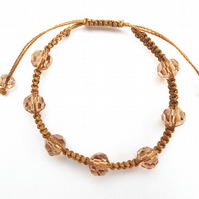 For November Birthday Smokey Topaz Micro Macramé Bracelet