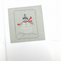 "Sale.""Have A Very Merry Winter"" Snowman Noël Petit Point Card"""