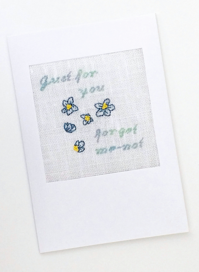 Just For You...Daughters Birthday...Retirement Forget-Me-Not Cross Stitch Card