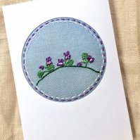 February Birthday Embroidered Sweet Violets Card. Mother's Day. Easter!