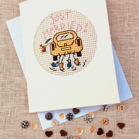 Just Married. Wedding Cross Stitch in Recycled Card