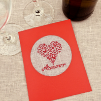 Amour Valentine Heart Petit Point Card