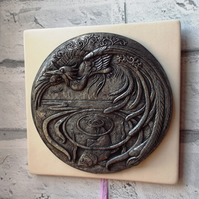 Cold cast pewter relief wall plaque showing mythical 'Halcyon' bird (Kingfisher)