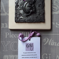 Hare and Moon wall plaque Hare Wall decor Pewter plaque Pagan hand fasting gift