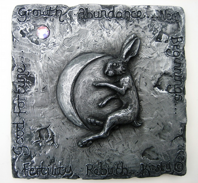 Hare And Moon Wall Plaque Hare Wall Decor Pewte Folksy