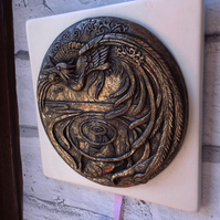 Wall plaque,cold cast bronze on ceramic tile. Halcyon days,Kingfisher,wall art