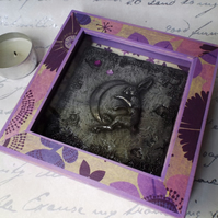 Cold-cast Pewter 'Moon-gazing-Hare' plaque mounted in a decorated 3D box frame