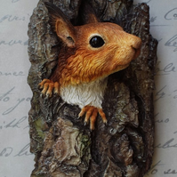 Red Squirrel Sculpture, British wildlife art, Squirrel wall art, limited edition
