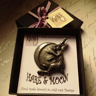 Hare and Moon brooch in cold cast pewter. Pagan inspired British wildlife brooch