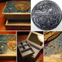 Uniquely decorated jewellery box with sculpted plaque and beautiful finish