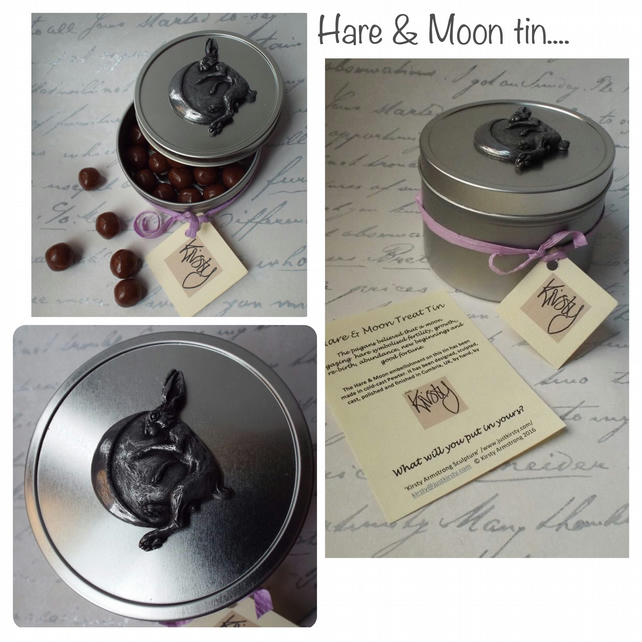Pagan Hare & moon storage tin Hares Treat tin Snack tin Hare gift Biscuit tin