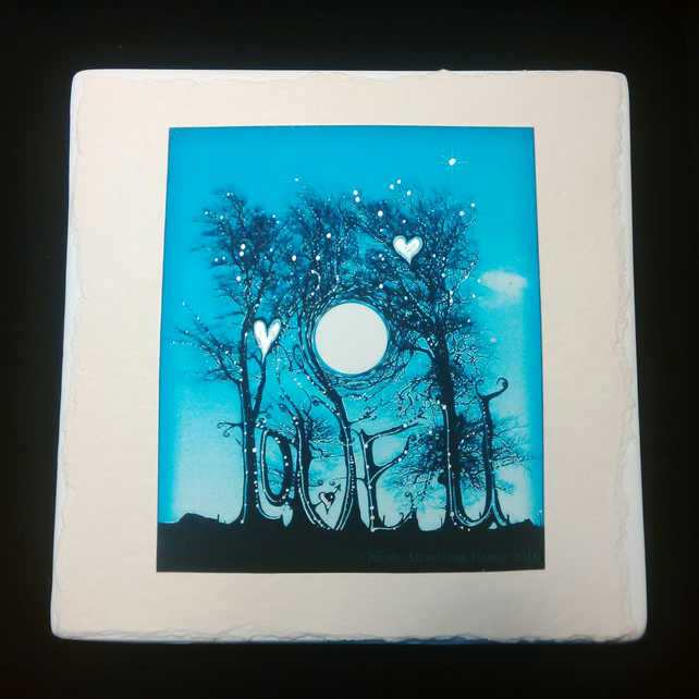 Love U Blue Moon tree illustration on ceramic wall hanging Valentine's Day gift