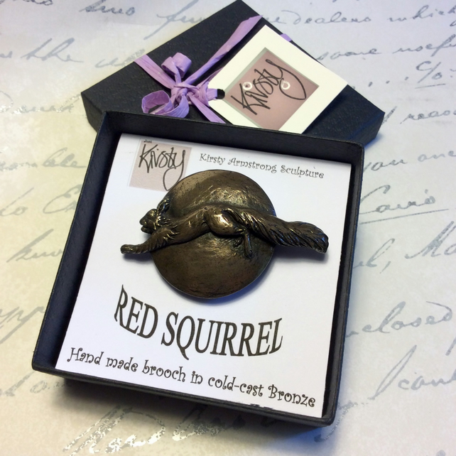 Red squirrel brooch Bronze Squirrel pin Gift boxed Gift for squirrel lover