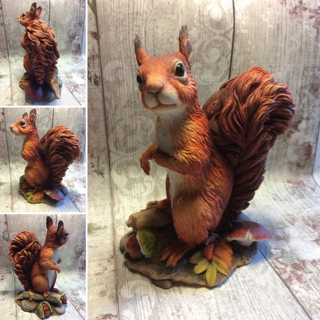 Realistic red squirrel sculpture cute Red Squirrel figurine wildlife art