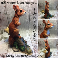 George Red Squirrel Kitten Sculpture Cute Hand painted squirrel figurine Model