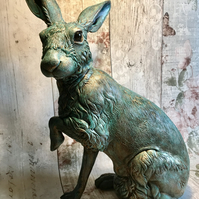 Large realistic detailed bronze and green sitting Hare Sculpture