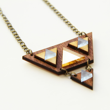 Zelda Triangle Necklace (Wood, gold and frosted blue acrylic)
