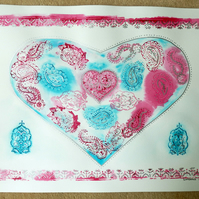 Mixed Media and Printed Unframed Hearts and Saris Artwork