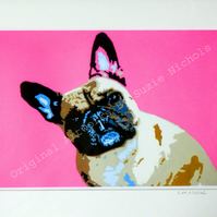 Pink Frenchie Dog- Quality A4 Mounted Giclee Art Print by Artist Suzie Nichols