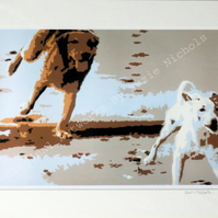 Running Beach Dogs- Quality A4 Giclee Art Print by Artist Suzie Nichols