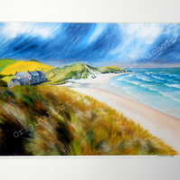 A4 Quality Mounted Giclee Art Print of a Northumberland Beach - by Suzie Nichols