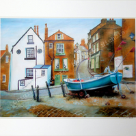 A4 Quality Mounted Giclee Art Print of Robin Hood's Bay- by Artist Suzie Nichols