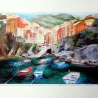 A4 Quality Mounted Giclee Art Print of Riomaggiore - by Artist Suzie Nichols