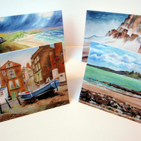 Seaside Scenes. Set of 8 blank artcards depicting the artwork of Suzie Nichols.