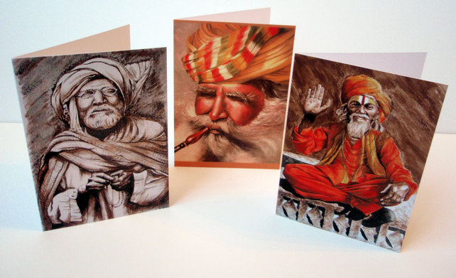 Indian Gentlemen.Set of 6 blank artcards depicting the artwork of Suzie Nichols.