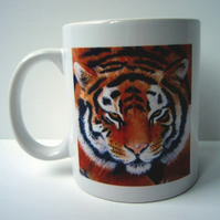 Porcelain Tiger Mug depicting the artwork of artist Suzie Nichols