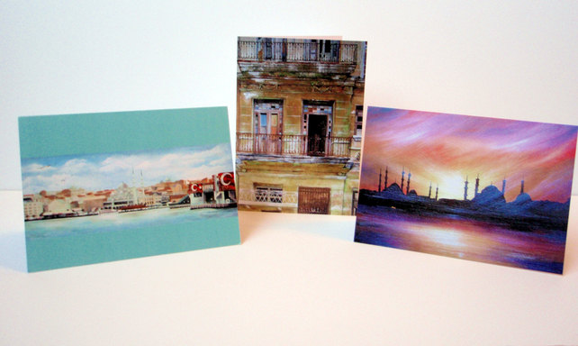 Built Landscapes. Set of 6 blank artcards depicting artwork of Suzie Nichols.