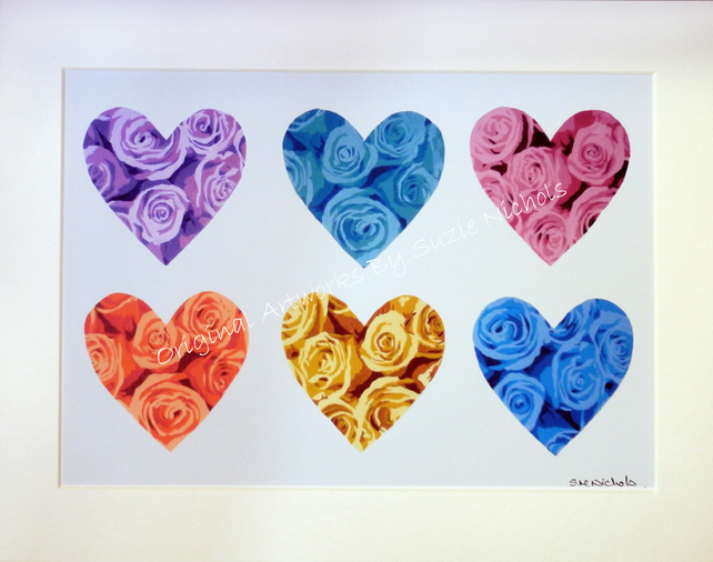 Hearts and Roses Giclee Print- Quality A4 Mounted Print by Artist Suzie Nichols
