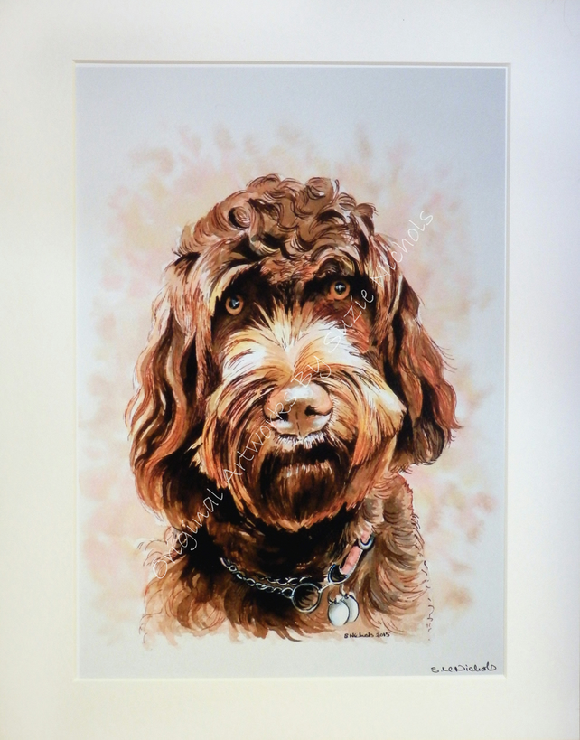 Labradoodle Giclee Print Quality A4 Mounted Giclee Print by Artist Suzie Nichols