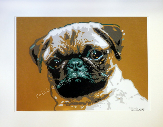 Pug Giclee Print- Quality A4 Mounted Giclee Print by Artist Suzie Nichols