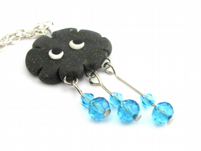 Rain drop necklace polymer clay beaded charm necklace