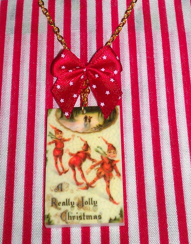 Vintage Christmas Elves Pendant and Bow Necklace